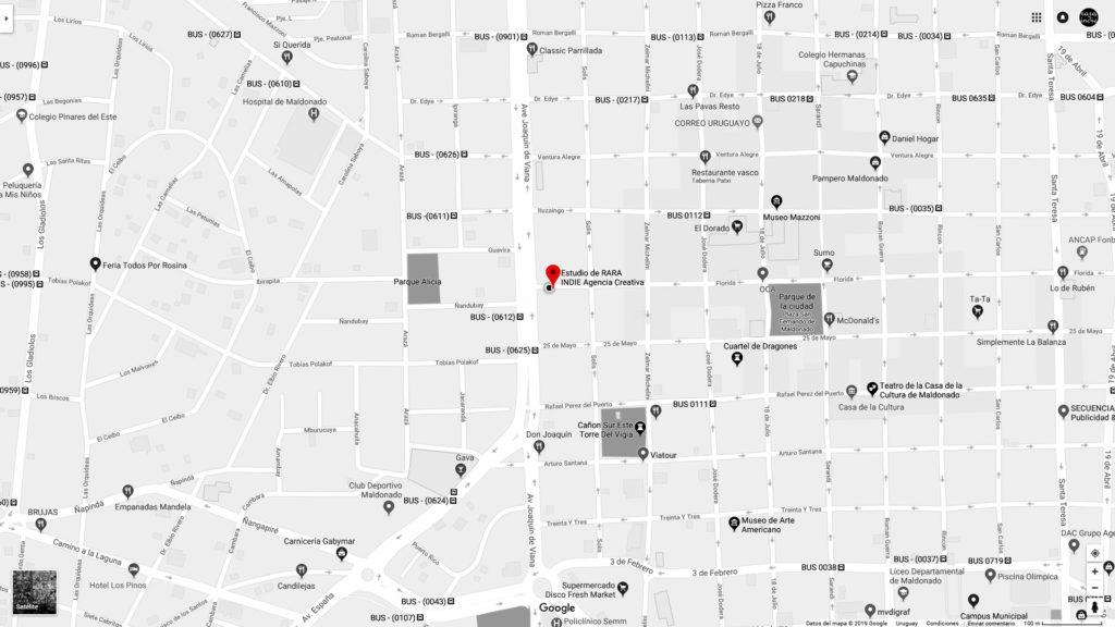 Mapa de localización Estudio Rara Indie Agencia Creativa