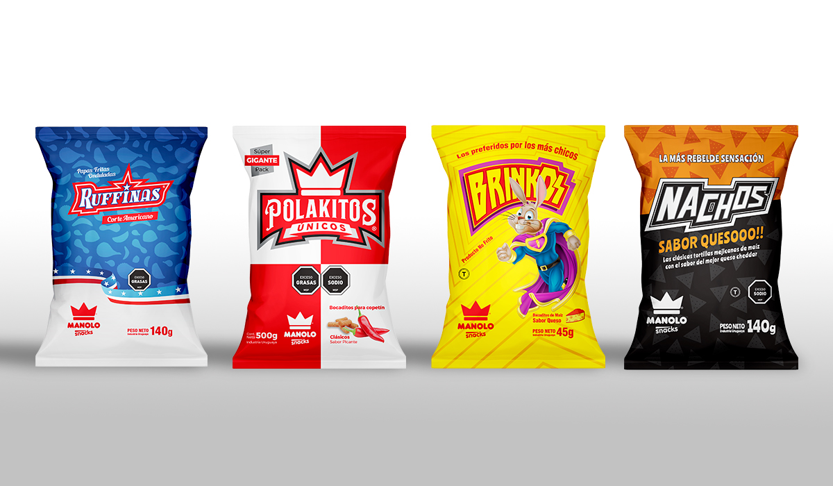 Diseño de Packagings Manolo Snacks